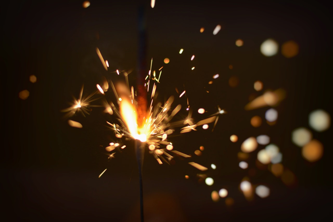 A lit sparkler—time to celebrate!