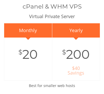 The cPanel pricing page.