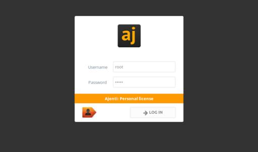 Install Ajenti: the login screen