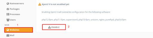 Install Ajenti: enable the Ajenti V plugin