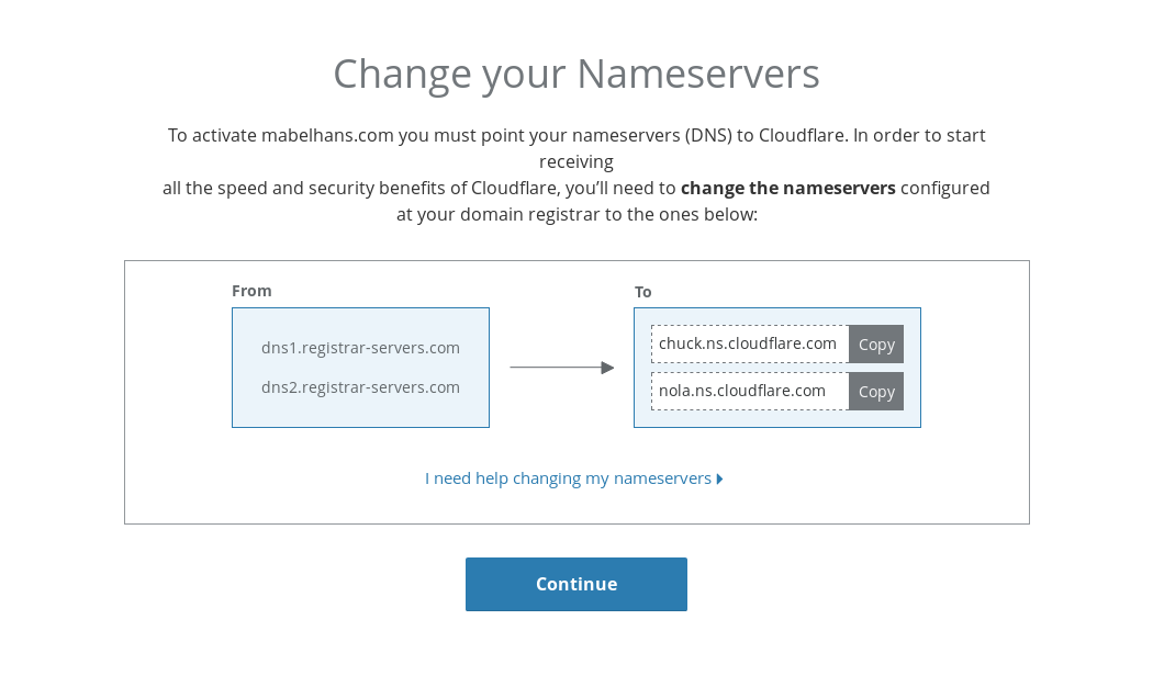 Self-hosting guide: Cloudflare nameservers