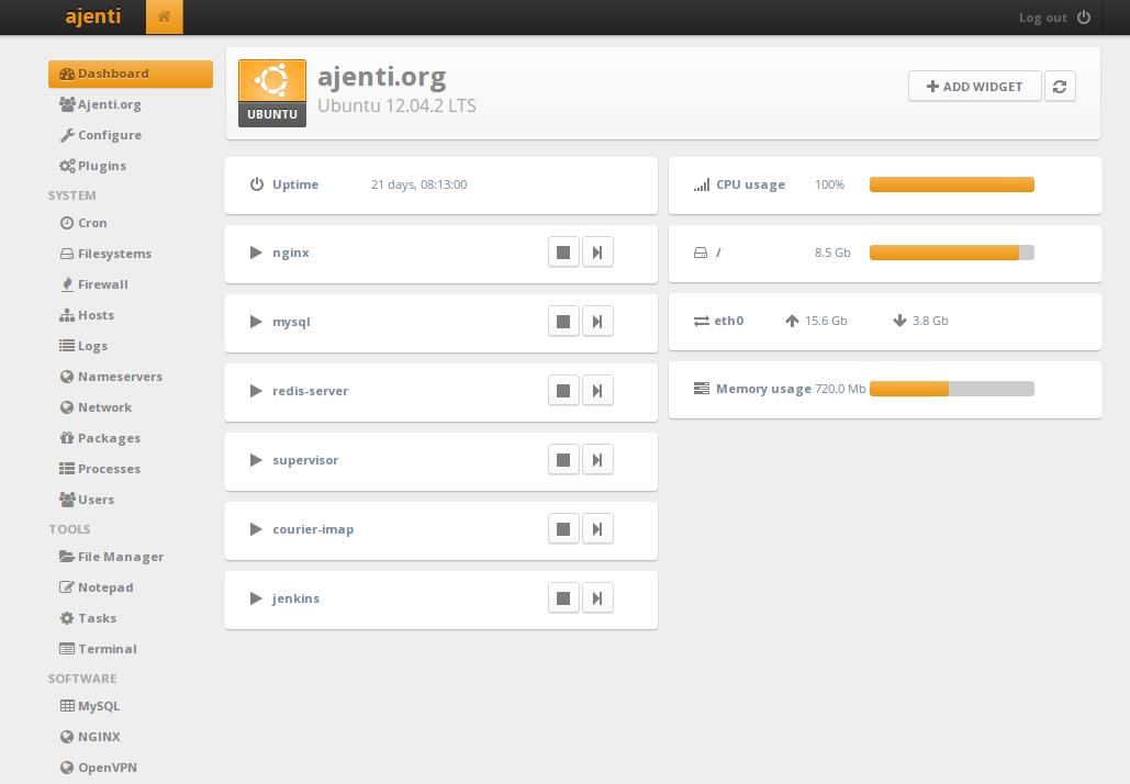 cPanel altnernatives: The Ajenti web interface