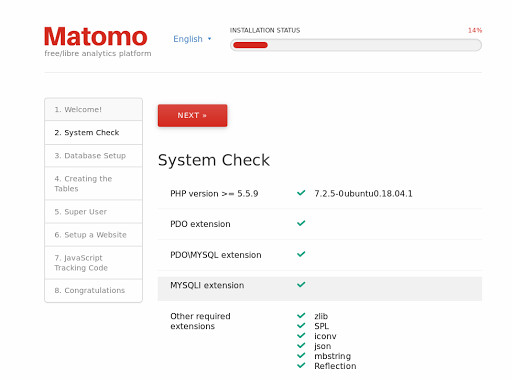 Matomo VPS installation: The system check