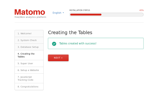 Matomo VPS installation: Creating tables