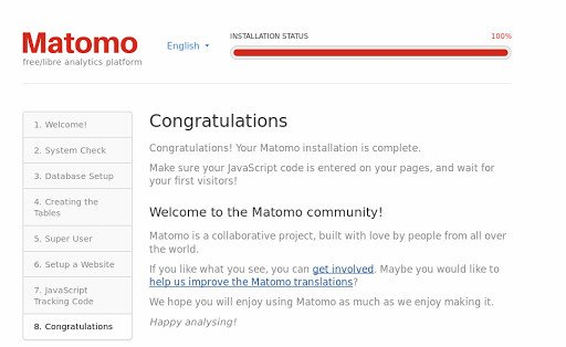 Matomo VPS installation: You're all set up!
