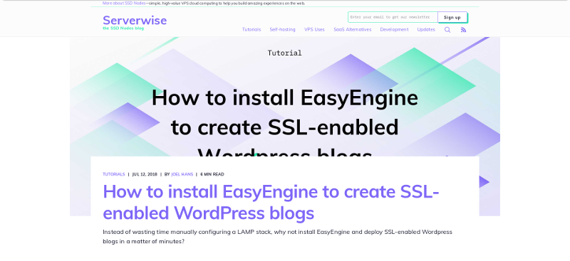 Serverwise old blog design