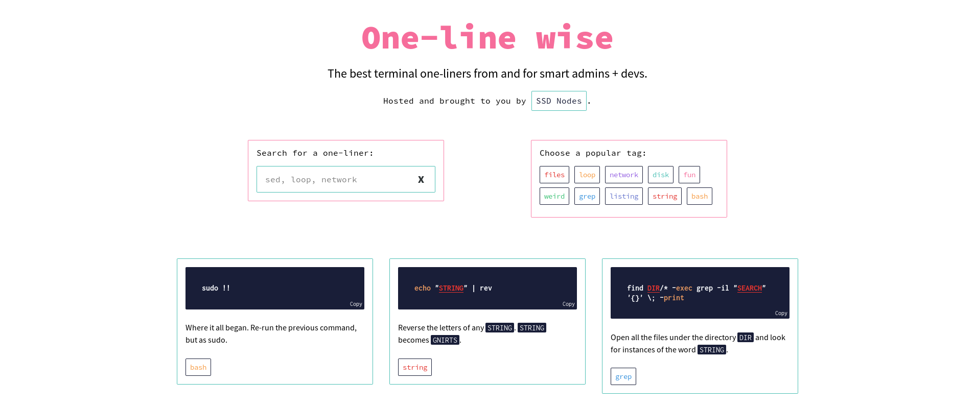 One-line wise: one-liners from and for smart devs and admins