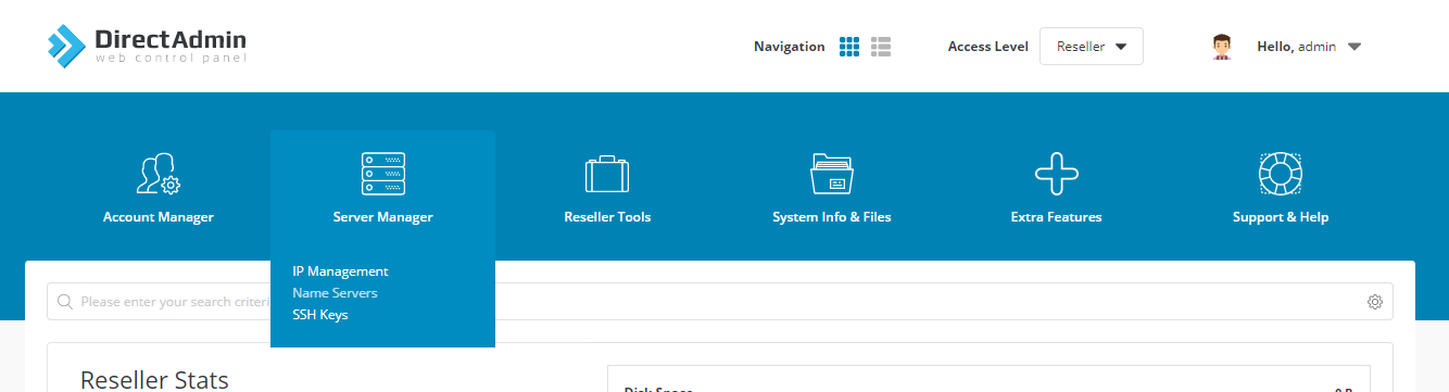 server-manager-directadmin